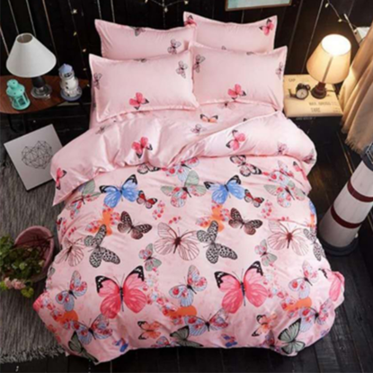 Imagine Lenjerie Pat 2 persoane, 6 piese, Bumbac FINET, pink