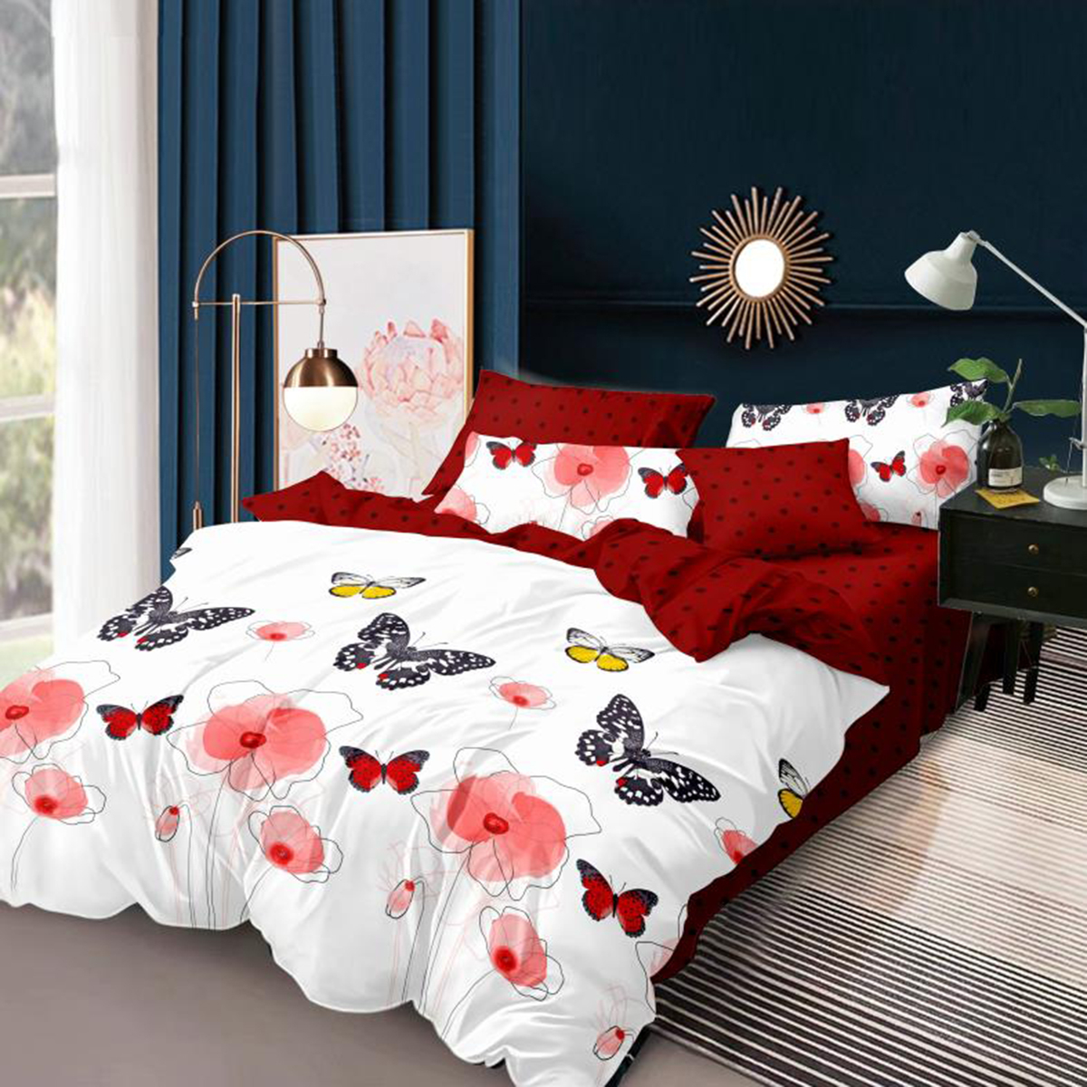 Imagine Lenjerie pat Elvo, 4 piese, Butterfly Red