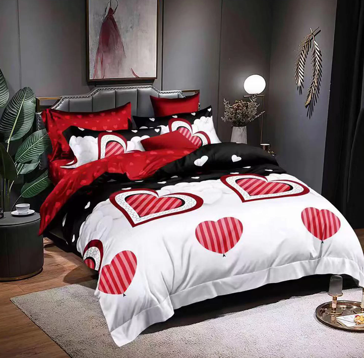 Imagine Lenjerie Pat 2 persoane, 6 piese,  Bumbac FINET, Red heart